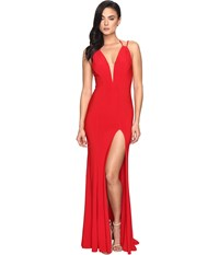 Faviana Jersey V Neck Adjust Back Slit Skirt 7920 Red Women's Dress