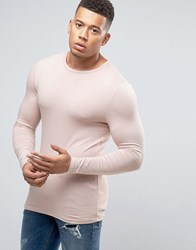 Asos Extreme Muscle Long Sleeve T Shirt Pink