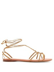 Francesco Russo Braided Ankle Strap Leather Flat Sandals Bronze