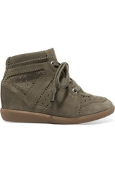 Isabel Marant Etoile Bobby Suede Wedge Sneakers Army Green
