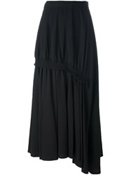 Y's Asymmetric Gathered Skirt Black