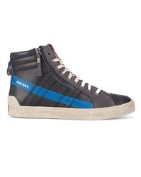 Diesel Black And Blue D String Plus High Top Sneakers