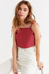 Urban Outfitters Uo Square Neck Tie A Strap Cami Red Multi