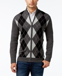 Club Room Men's Zip Front Argyle Sweater Only At Macy's Charcoal Heather