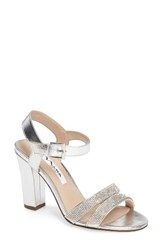 Nina Women's Sylvie Ankle Strap Sandal Silver Faux Leather
