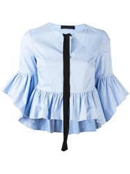 Christian Pellizzari Ruffled Blouse Blue