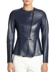 Akris Selma Leather Peplum Jacket Azurite