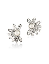 Carolee Simulated Pearl Silvertone Floral Clip On Earrings