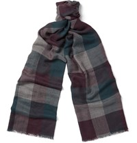 Loro Piana Stanford Checked Cashmere Scarf Purple