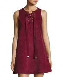 Moon River Corduroy Lace Up Shift Dress Wine