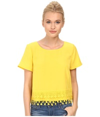 Kensie Thick Soft Crepe Top Ks3k4437 Sunray Combo Women's Short Sleeve Pullover Yellow