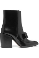 Marni Bow Embellished Leather Boots Black