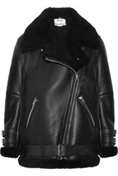 Acne Studios Velocite Shearling Trimmed Leather Biker Jacket Black