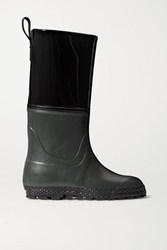 Ludwig Reiter Gardener Rubber And Patent Leather Rain Boots Black