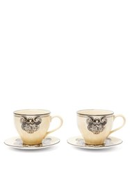 Gucci X Richard Ginori Set Of Two Cups And Saucers White Multi