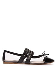 Miu Miu Buckle Fastening Plexi And Leather Ballet Flats Black