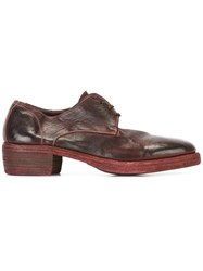 Guidi Distressed Derby Shoes Brown