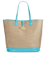 Jonathan Adler Duchess Straw Tote Turquoise Natural