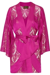 Agent Provocateur Soiree Emie Paneled Silk Satin And Lace Robe