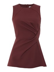 Linea Sleeveless Knot Front Top Wine