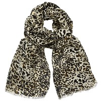 John Lewis Busy Animal Print Scarf Black Cream