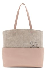 Ed Ellen Degeneres Henlee Canvas And Leather Tote Pink Rosa