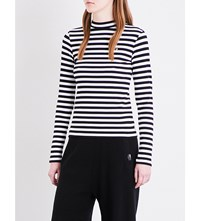 Chocoolate Striped High Neck Knitted Jumper Black