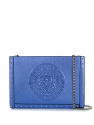 Balmain Metallic Leather Clutch Blue
