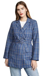 Moon River Belted Blazer Blue Plaid