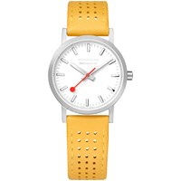 Mondaine Unisex Sbb Classic Rally Leather Strap Watch Yellow White A658.30323.16Sbe