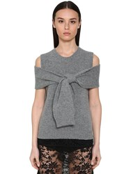 Prada Wool And Cashmere Knit Top W Knot Detail Grey