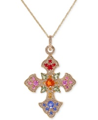 Effy Collection Effy Multicolor Sapphire 3 Ct. T.W. And Diamond 2 3 Ct. T.W. Celtic Cross Necklace In 14K Gold