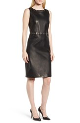 Boss Syrix Leather Sheath Dress Black