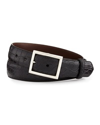 W.Kleinberg Matte Alligator Belt With 'Simple Rec' Buckle Black Made To Order