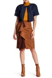Gracia Faux Suede Ruffle Skirt Brown