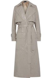 Michael Lo Sordo Crinkled Faux Patent Leather Trench Coat Neutral