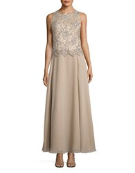 J Kara Champagne Sleeveless Embellished Gown And Scarf Set