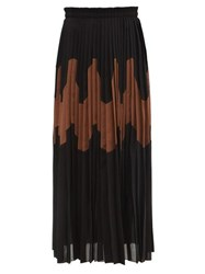 Jil Sander Panelled Pleated Cotton Blend Skirt Black Brown