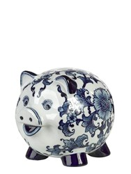 Pols Potten Piggy Bank Porcelain Pig White Blue