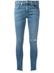 Rag And Bone Jean Frayed Hem Skinny Jeans Blue