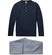 Nn.07 Sleepwell Cotton Jersey And Chambray Pyjama Set Blue