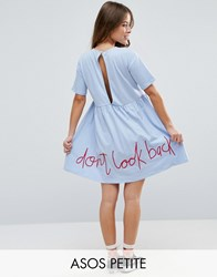 Asos Petite Smock Dress With Don't Look Back Embroidery Blue