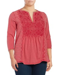 Lucky Brand Plus Embroidered Peasant Top Pink