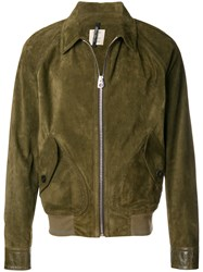 Santoni Zipped Leather Jacket Green