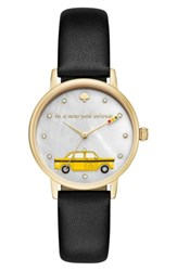 Kate Spade Women's New York Metro Taxi Leather Strap Watch 34Mm Black Mop Gold