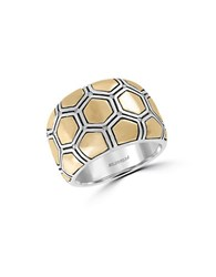 Effy 925 Sterling Silver 18K Yellow Gold And Diamond Ring Two Tone