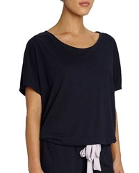 Eberjey Heather Slouchy Drawstring Lounge Tee Dark Blue Deep Sea