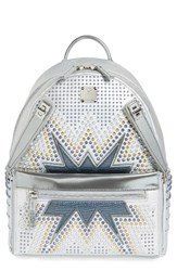 Mcm Dual Stark Studded Leather Backpack White White Flake