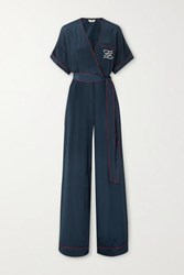 Fendi Tuta Belted Wrap Effect Embroidered Silk Jumpsuit Navy