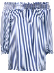 P.A.R.O.S.H. Striped Off Shoulder Blouse Women Silk L Blue